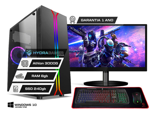 Imagem 1 de 10 de Pc Gamer Completo Amd 3000g 8gb Ssd 240gb Vega 3 2gb Monitor