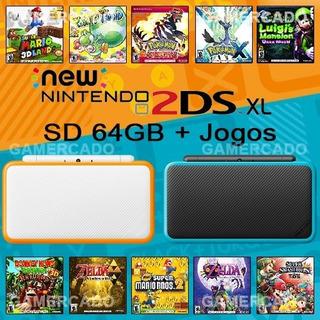 New Nintendo 2ds Xl + Sd 64gb + Jogos 3ds + Sem Juros