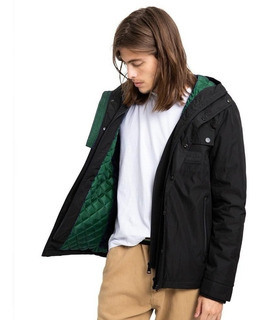 Campera Hombre Impermeable Rusty Strangers Negra Con Capucha