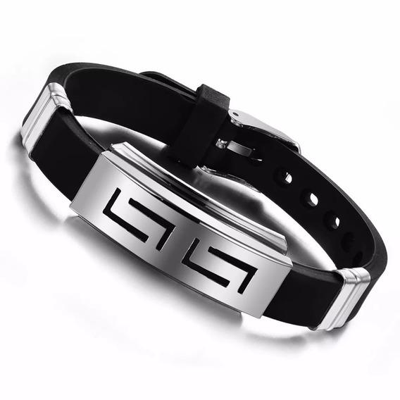 Pulseira Bracelete Masculino Casual Silicone Elegante Luxo
