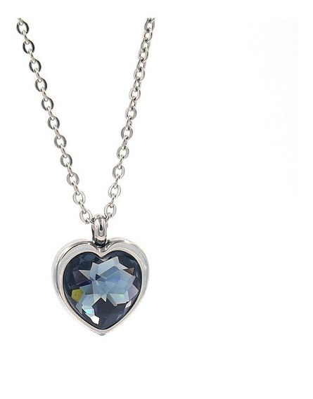 Collar De Acero Inoxidable Corazón Cristal Ahumado Eg