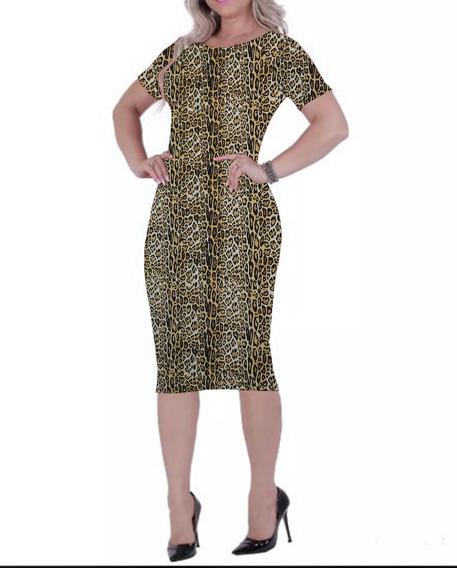 Vestido Midi Moda Evangélica Crepe Onça Tigresa Animal Print