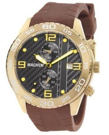 Relógio Magnum Dourado Masculino Silicone Marrom Ma34898m Nf