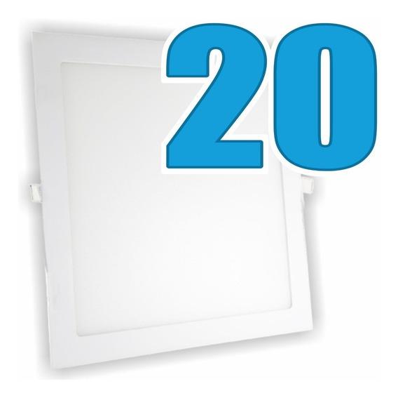 Kit 20 Painéis Plafon Luminária Embutir Quadrado 24w Bivolt
