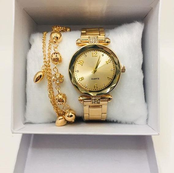 Kit Relógio Dourado + Pulseira Feminino, Acompanha A Caixa