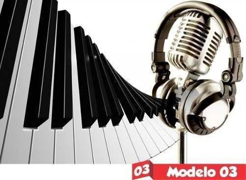 Painel Lona Festa Aniversário Tema Música Notas Teclado