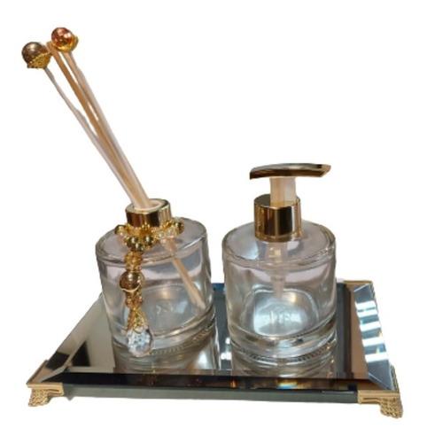 Imagem 1 de 3 de Kit Lavabo Frasco Redondo (saboneteira Luxo  E Aromatizador)