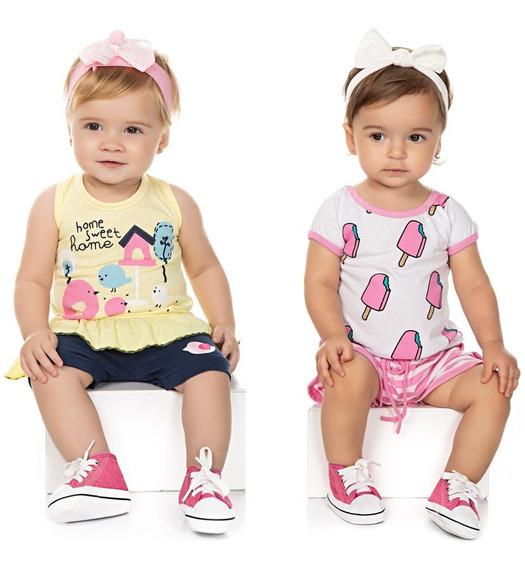 Roupa Bebê Menina Kit 2 Conjuntos Camiseta E Shorts Isensee