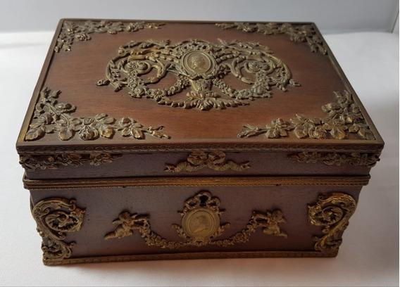 Caixa Porta Joias Antiga Em Bronze E Madeira Século 19