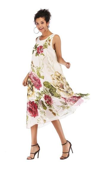 Vestido Casual Estampado Floral Sin Mangas De Mujer M-xl