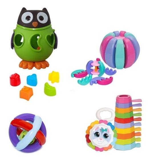 Kit 4 Brinquedos Didáticos Bebes + 6, 7, 8 E 9 Meses Menina