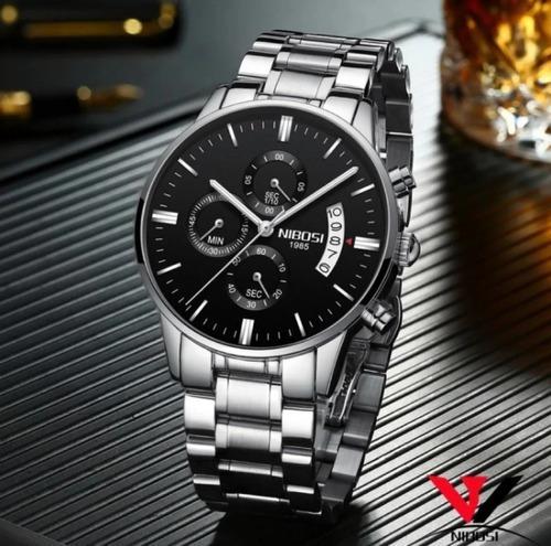 Relógio Masculino Prata Nibosi Vidro Safira Anti-risco