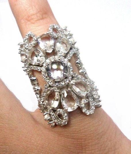 Fw3-anel Prata 925 Cristal Rocha Zirconias Rodio Kessel