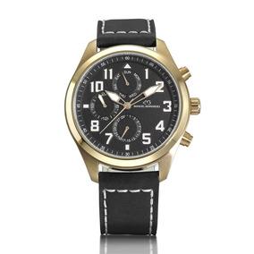 Relógio Em Aço, 46mm E Pulseira De Couro Manoel Bernardes
