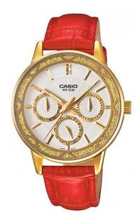 Reloj Casio Dama Caja Acero Dorado Pulso Cuero Ltp-2087gl-4a