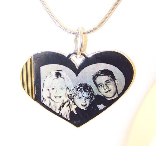 Foto Medalla Acero Quirúrgico Oro Corazón 41x30mm Cadena