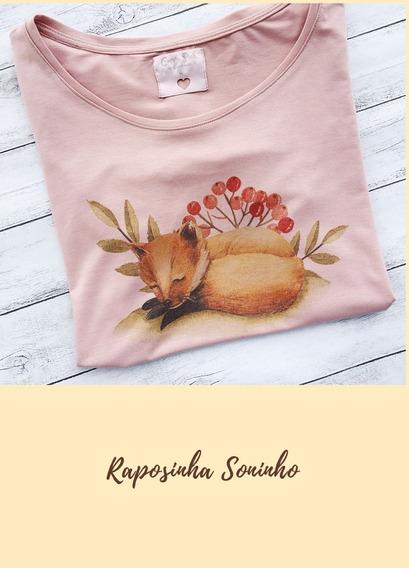 Blusa Feminina T-shirt Raposa Soninho Estampa Exclusiva