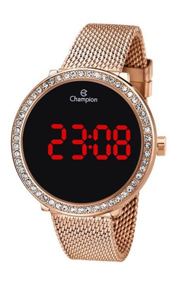 Relógio Feminino Rose Champion Digital Led Vermelho E Pedras