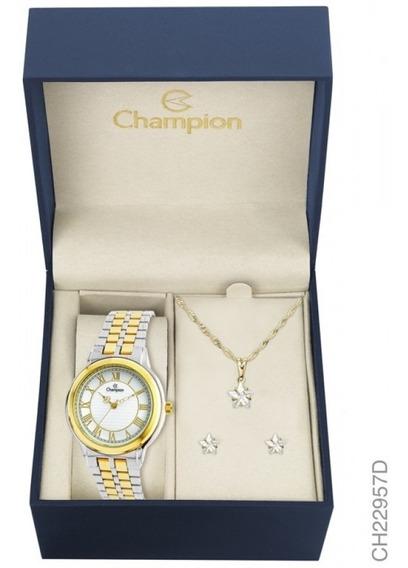 Relógio Champion Analógico Ch22957d Feminino + Semijoia