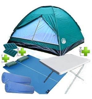 Carpa Iglu 4 Personas Camping + Mesa + Colchon 2p Almohadas