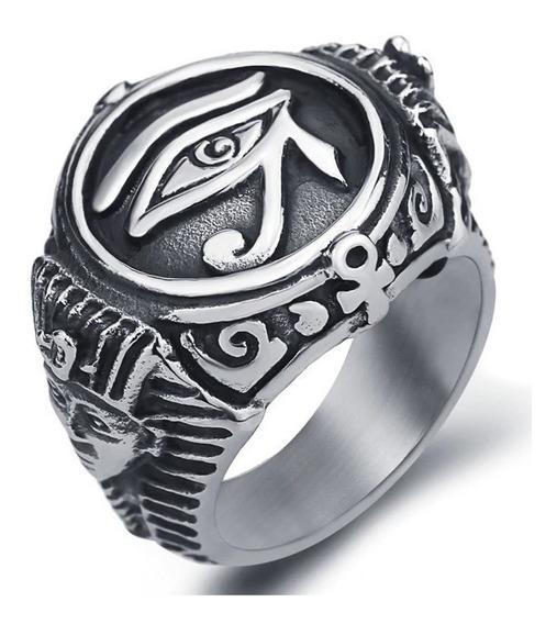 Anel Maçonaria Olho Hórus Aço Inox Templário Egito