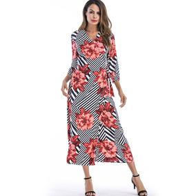 Vestido Maxi Largo Floral Raya Verano Mujeres V Cuello 3/4