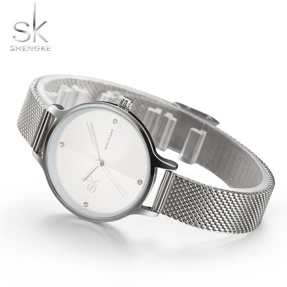 Relógio Feminino De Luxo Sk + Linda Caixa - Imperdível!