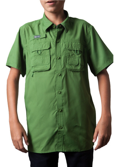 Camisas Ke Manga Corta Verde Oscuro Niños #jc01-2812