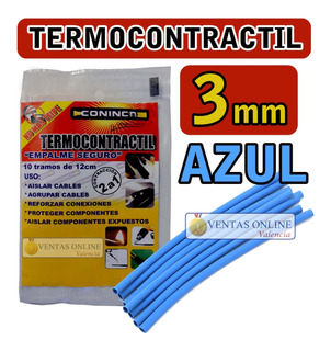 Termoencogible Termocontráctil Para Cables 3mm Azul 1,20 Mts