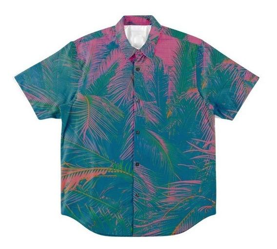 Camisa Botões Acid Trip Vibe Psicodélica Havaiana Vaporwave