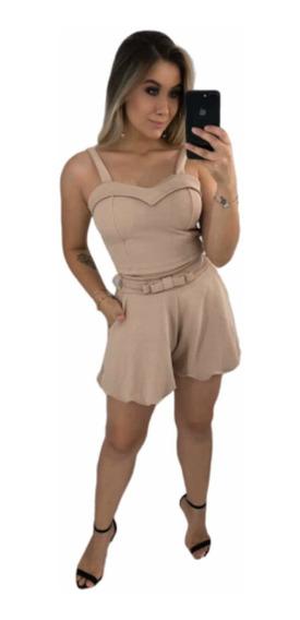 Conjunto Feminino Cropped E Shorts Godê Barra Ondinhas Cinto