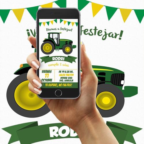 Invitacion Digital Tractor Cumpleaños Whatsapp