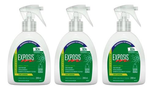 Repelente Em Spray Com Gatilho Exposis 200 Ml Kit 03 Un