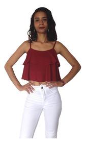 Blusinha Cropped Ciganinha Feminina Vinho Viscose Verão 2019