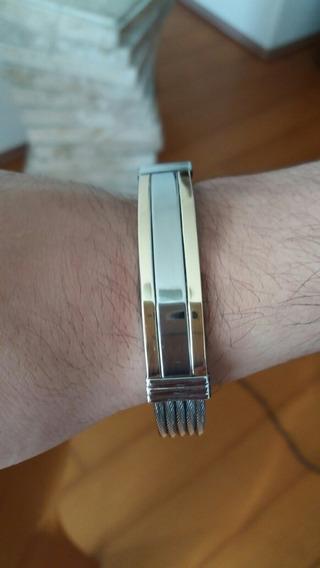 Bracelete Aço Sirúrgico Com Ouro 18k- 750