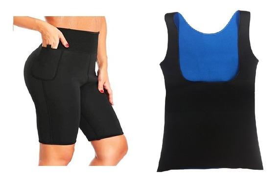 Blusa Blusinha Cinta Feminina + Short Bermuda Modeladora Top