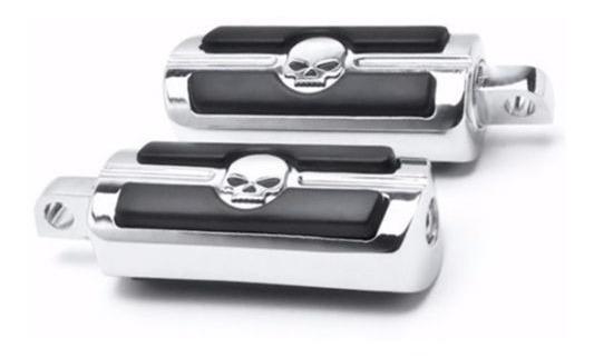 Posapies Skull Cromados Para Harley Davidson