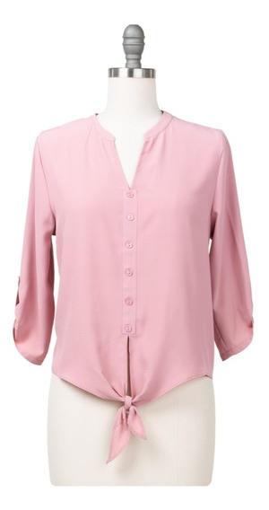 Blusa De Vestir Camiseta, Lazo Delantero, Botones Simulados.