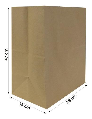 Imagen 1 de 5 de Bolsa Papel Kraft 28x15x47 Cm Delivery Sin Manija 10 Unidads