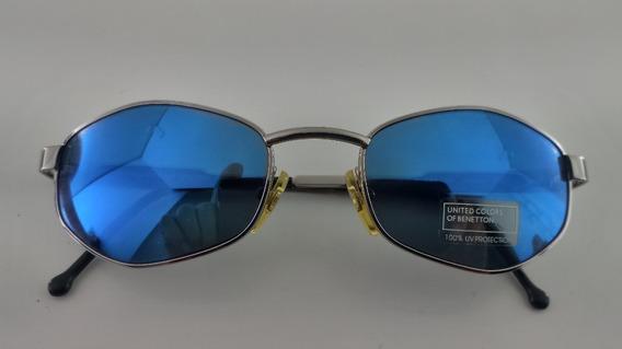 Óculos Sol, Lentes Azuis, Metal, Benetton 1401c3