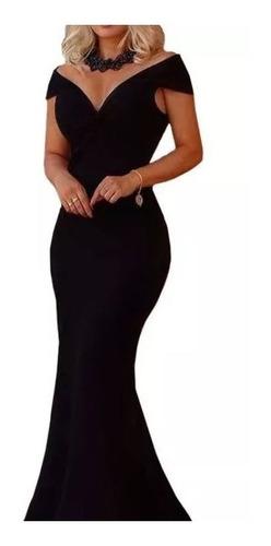 Imagem 1 de 2 de Vestido Longo Festa Decote Coração Corte Sereia Em Crepe