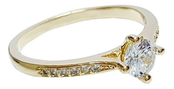 Anel Feminino Solitário Cristal Brilhante Luxo Banhado Ouro