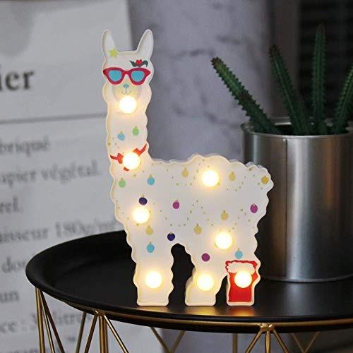 Luz de Noche LED L/ámpara con Forma de Alpaca Animal Luz de Decoraci/ón de Escritorio Port/átil