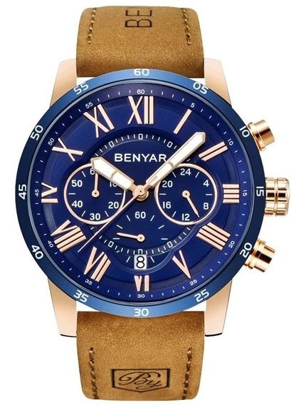 Relógio Masculino Benyar 5139 Dourado Rose C/ Azul Couro
