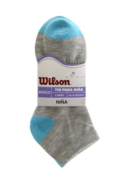Tin Basico 3 Pares Niña Gris/azul Wilson Tecnosocks