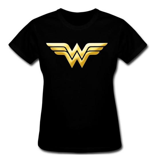 Blusa Mulher Maravilha Feminina Lançamento Logo Dourado