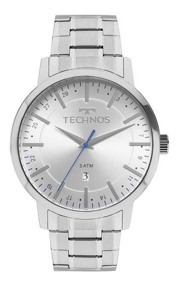 Relógio Masculino Prata Technos Todo Em Aço Com Data 2115mmj