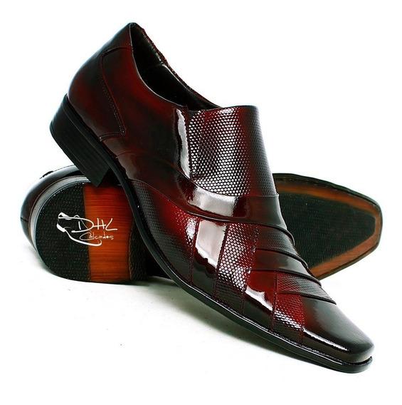 Sapato Social Couro Verniz Sofisticado Frete G. Dhl Calçados