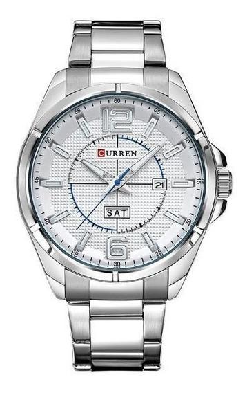 Relógio Masculino Curren Analógico 8271 - Prata E Branco