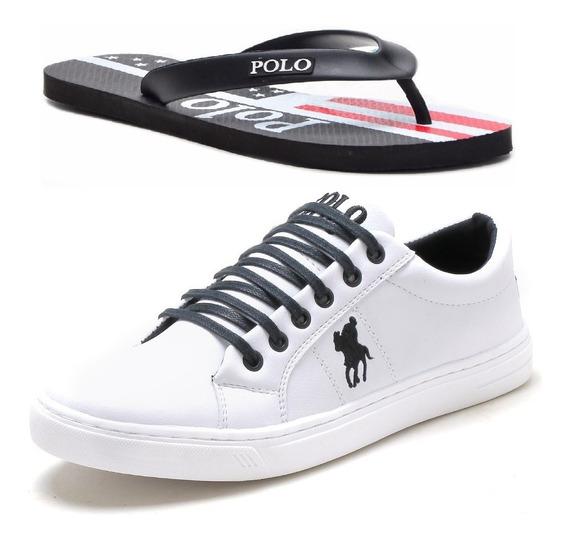 Kit Chinelo Masculino+sapatênis Polo Plus Original Promoção